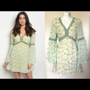 Ivy Bell Sleeve Mini Dress 60s Boho S M New